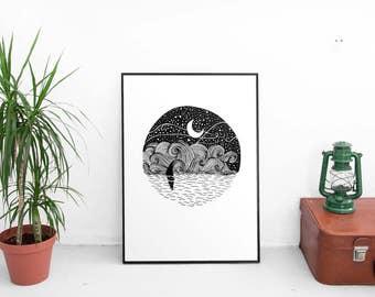 Boat And Waves Art Print