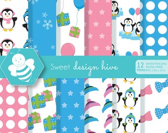 Winter Penguins, digital paper set, commercial use, scrapbook papers, background, DP0010