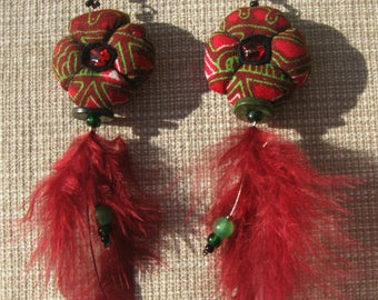 Wax and feathers earrings