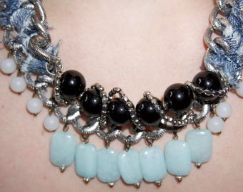 Blue, Black, and White Statement Necklace with Denim