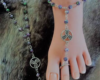 Barefoot sandals purple/Green