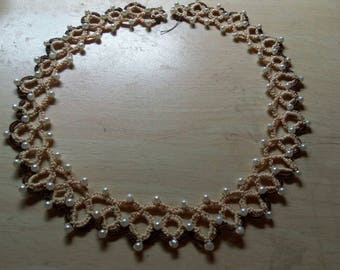 Sandy Clay by the Sea... Tatted lace necklace