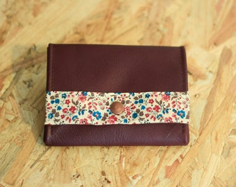 Tristan wallets in leather and fabric flower red bordeaux and blue