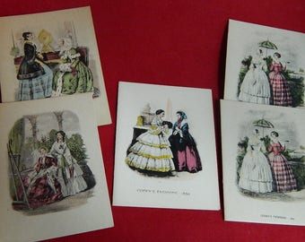 RARE! FIVE Godey's Fashions - 1850 Note cards with envelopes Set A