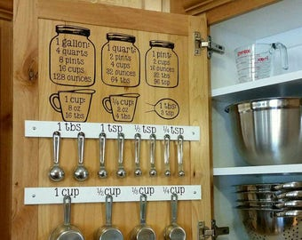 Mason Jar Measurement Conversion/Kitchen Equivalent Chart Decal - Now available in select COLORS!