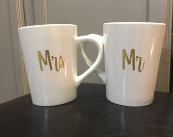 Mr & Mrs.His One .Her Only. Morning coffee as a couple never felt so right. Perfect gift to someone you know or yourself.  Can be customized