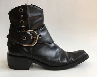 Vintage Black Leather Harley Davidson Motorcycle Harness Ankle Boots Size 8.5 9 Americana Western Festival