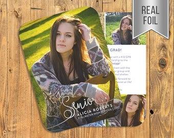 REAL FOIL PRESSED Card! Senior Announcement, Graduation Announcement, Graduation Invitation, Senior Invitation, Open House Invitation