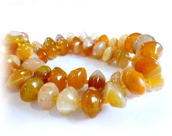 Genuine Amber Agate Beads/ Semiprecious/Stripped Agate of 10x14 hole 1 mm_Strand 35 bead