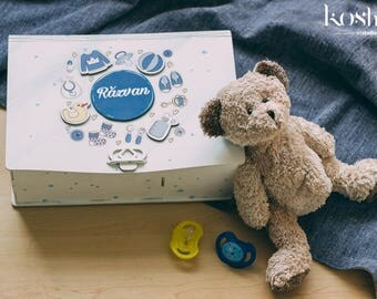 Blue Boy Personalized Baby Memory Box, Keepsake Baby Box, Memory Baby Box, Wooden Memory Box, Keepsake Box, Baby Keepsake Box