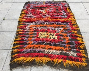Mixed color shaggy tulu rug,oushak rug mixed color carpet,vintage,anatolian,Turkish goat hair rug,goat whit long hair rug 213x103/6'9x3'3