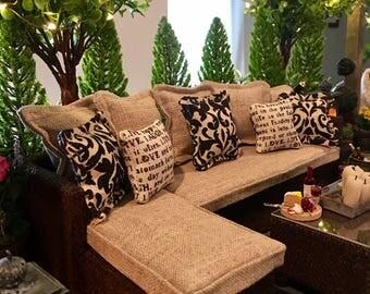 Dollhouse Miniature Furniture 1:12 Patio Outdoor Sectional Sofa Furniture