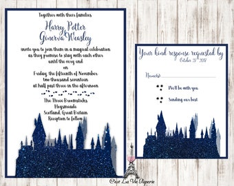 Hogwarts Sparkle Wedding Invitation