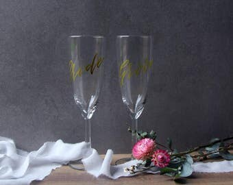 Champagne Wedding Flutes. Bride and Groom Wedding Glasses. Personalised Wedding Gift. Bridesmaid Gift. Bridal Shower.