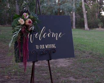 Gold Welcome To Our Wedding Chalkboard. Vintage Wedding Signs. Black Wedding Signage Decoration. Custom Blackboard Signs.