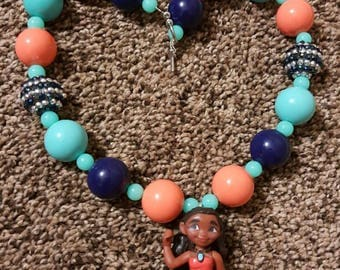 Moana Chunky Bubblegum Necklace, Girl's, Birthday Gift, Toggle Clasp