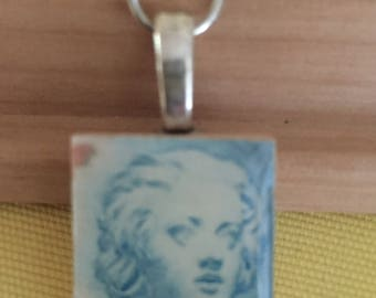Woman Face Postage Stamp Pendant
