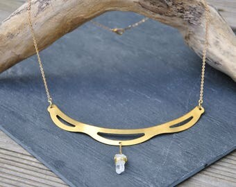Breastplate in brass and quartz necklace