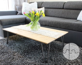 Rustic Industrial Wood Coffee Table with Metal Hairpin Legs