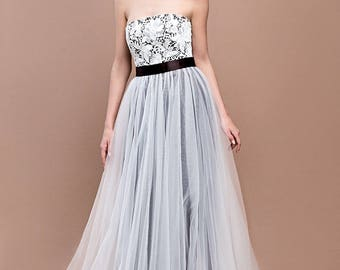 Black and white wedding dress / Gothic dress / Black gown / Corset bridal dress / Chiffon skirt wedding dress / Black wedding dress