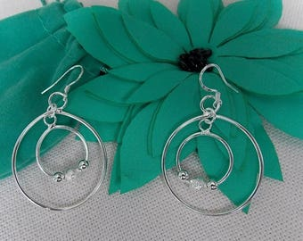 Two ring earrings. Lovely and elegant silver plated Two ring earrings.
