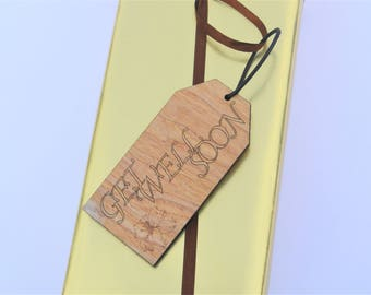 Personalised Get Well Soon Wooden Gift Tag Present Gift Wrap