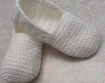 White crochet slippers