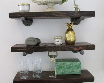 Industrial Pipe Shelving with Reclaimed Wood, Pipe Shelves, Wood Floating Shelves, Rustic pipe shelves