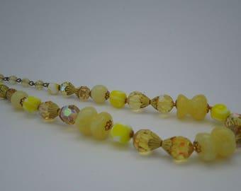 Necklace vintage with yellow aurora borealis crystals