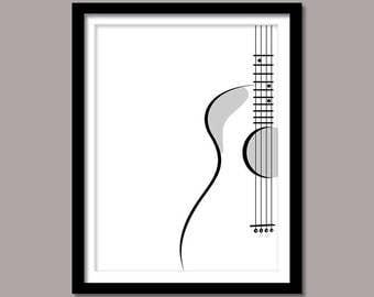 Guitar Print, Guitar Digital Print, Line Art Digital Download, Line Art Wall Decor, Black White Guitar, Art Print, Printable Art, Minimalist