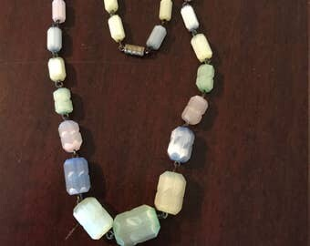 Pastel Satin Glass Bead Necklace
