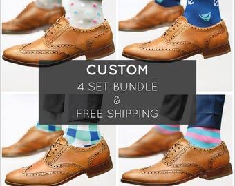 CUSTOM Bundle - Bamboo Socks / Colorful Socks / Groomsmen Socks / Wedding Socks / Dress Socks / Happy Socks /  Best Christmas Gift for Dads