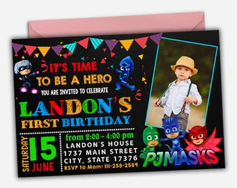 Pj Masks Invitation/ Pj Masks Birthday Invitation/ Pj Masks Party/ Pj Masks Invite/ Pj Masks Printable/ Pj Masks Download/ Pj Masks Digital