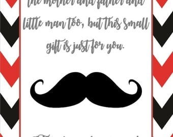 mustache baby shower 8x10 thank you sign