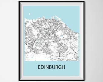 Edinburgh Map Poster Print - Black and White