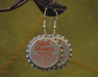 Vintage Soda Cap Earrings - Orchard Orange