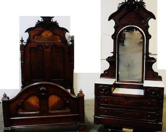 Beautiful Antique Renaissance Revival Victorian Bed and Dresser Set
