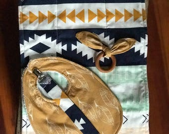 navy blue and mustard tribal baby gift set