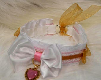 DDLG/BDSM/Kitten Play Collar White/Gold/Pink Collar with Gold and Pink Heart Pendant