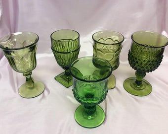 Vintage Green Glass Goblet c1960 - 1970s