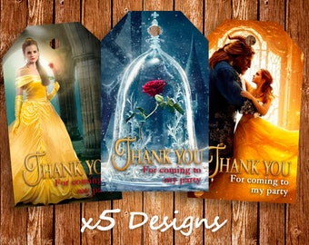 Beauty and The Beast Thank You Tags, Belle Favor Tags, Belle Thank You Tags, Belle Princess, Flavour Printable Tags, Birthday Thank You Tag