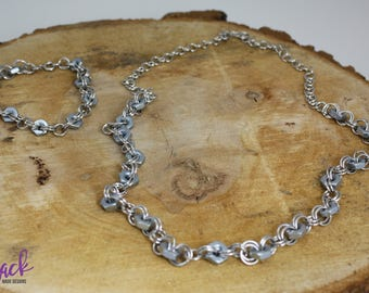 Matching set Hex Nut Necklace and Bracelet Upcycled Nickel Free