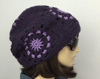 Women Crochet Hat Women Slouchy Hat in Purple Women Accessories Fall Fashion