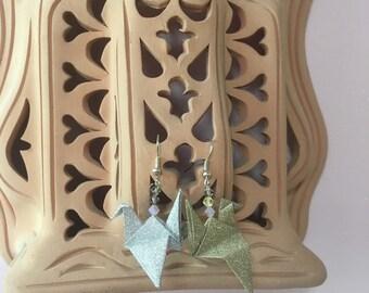 """Earrings """"oh my crane!"""" Golden silver"""