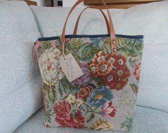 fabric and leather handbag