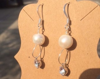 Silver Loop Earrings with Freshwater Pearl and Crystal