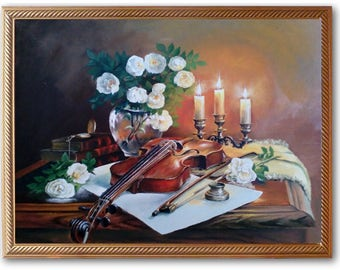 Oil painting, still life, violin, flowers, картина маслом,натюрморт,скрипка,цветы
