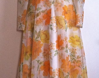 Vintage 50s 60s Floral Chiffon Formal Maxi Dress & Coat