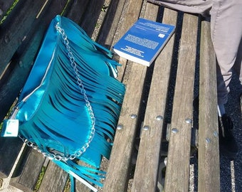 Blue Metallic fringe bag