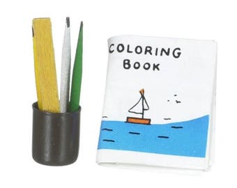 Dollhouse Miniature Coloring Book with Pens 1:12 Scale